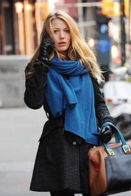 "The beautiful Blake Lively is seen bundled up while filming scenes for the hit show ""Gossip Girl"" in New York"